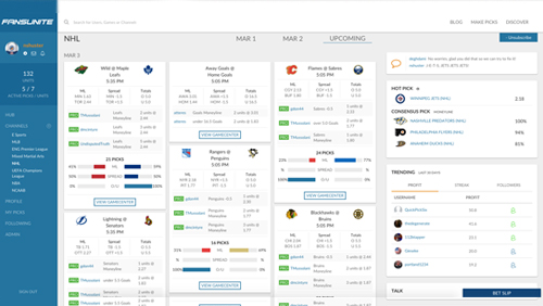 New Interface with Slack-like Model for Sports Betting