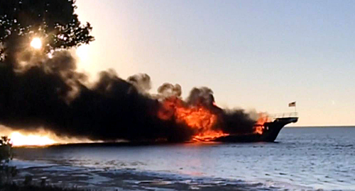 Woman dies after Florida floating casino shuttle craft catches fire