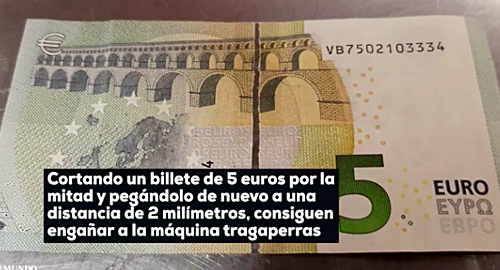 Scammers target Spanish slot machines with altered €5 bills