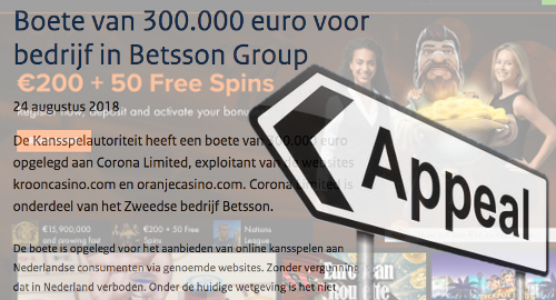 Betsson appeals €300k penalty issued to Dutch-facing subsidiary