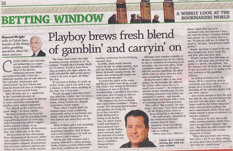 Racing Post chats with Calvin Ayre on 'Betting Window' feature