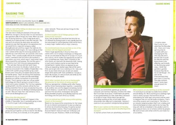 InterGaming Magazine  Calvin Ayre talks to Jenni Shuttleworth