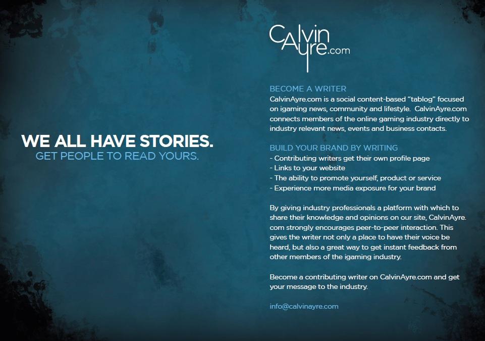 Write for CalvinAyre com - CalvinAyre com