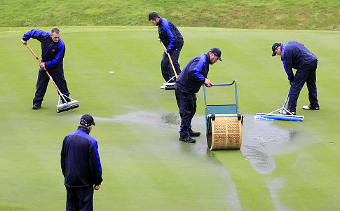 48th Ryder Cup underway in the pouring rain