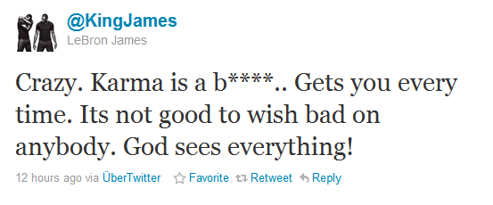 LeBron James Karma Tweet
