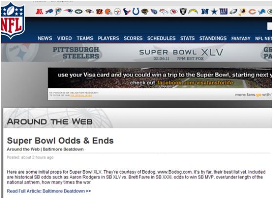 NFL com Showing Bodog Odds