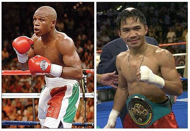 Floyd Mayweather and Manny Pacquiao in court