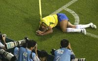 Brazilian soccer player Rivaldo takes a dive