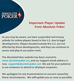 Absolute Poker notice in poker news