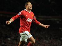 Manchester United striker Javier Hernandez celebrates scoring