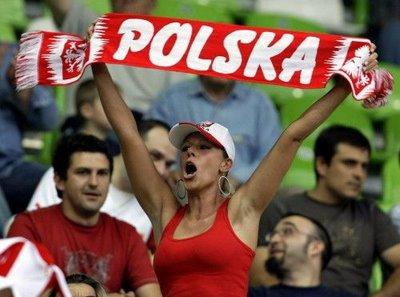 Polish female soccer fan celebrates