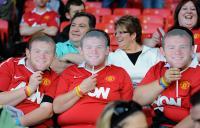 Utd fans with Wayne Rooney masks