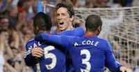Fernando Torres celebrates his first Chelsea goal