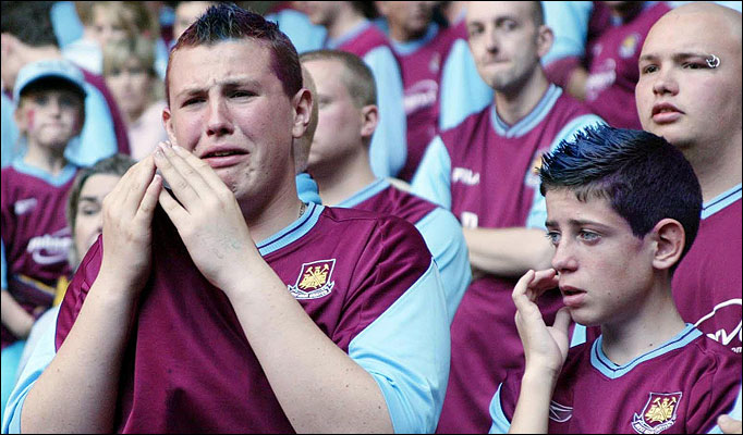 West Ham fan dejected