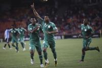 Nigerian players celebrate goal