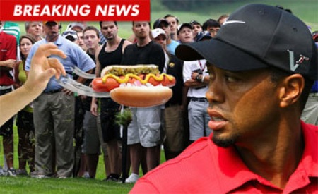 Tiger Woods and hot dog