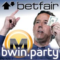 Betfair's Santorum situation; PartyGaming pleads innocent in Megaupload affair