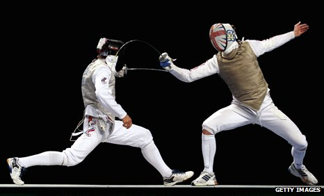 Olympic fencer shows his poker face