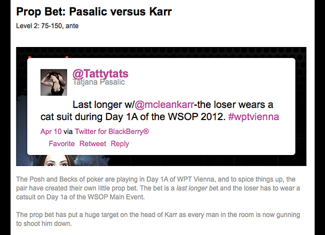 Lee Davy, official WPT blogger, describes his WSOP 2012 bet