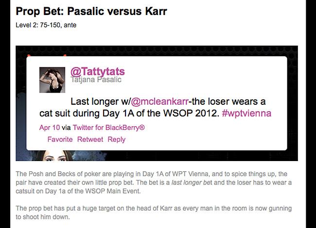 Lee Davy, official WPT blogger, describes his WSOP 2012 bet