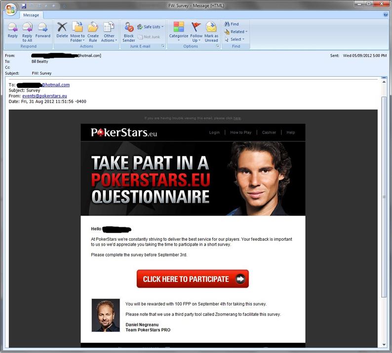 PokerStars Survey Email