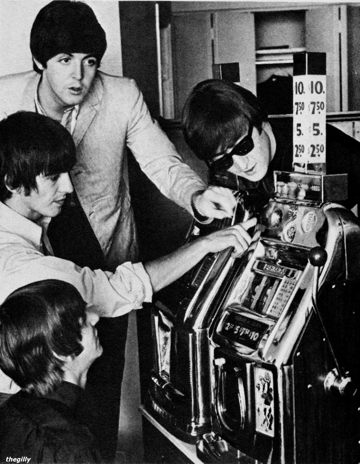 Beatles playing slot machine in Las Vegas Courtesy of the Gilly