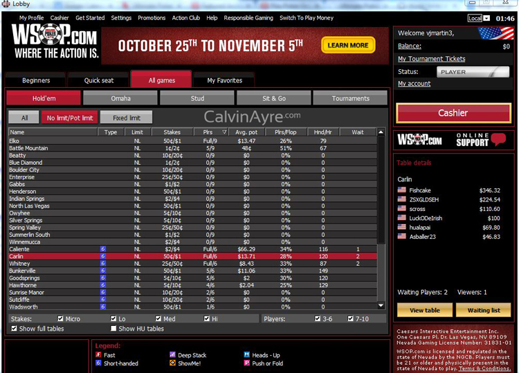 WSOP.com Online Poker Lobby