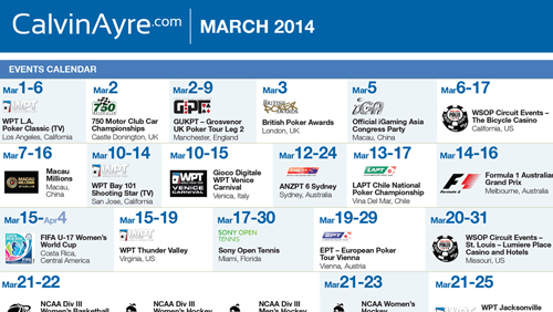 CalvinAyre.com featured Gambling Conference and Events: March 2014