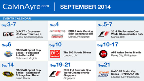 CalvinAyre.com Featured Online Gambling Conferences & Events: September, 2014
