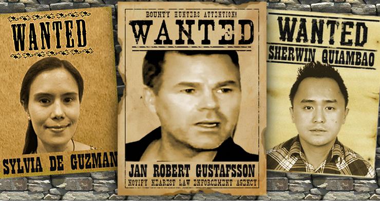 GUSTAFSSON-GUZMAN-QUIAMBAO-WANTED-ARRESTS