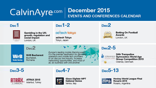 CalvinAyre.com Featured Conferences & Events: December 2015