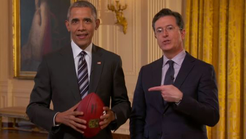 President Obama jokes about betting on sports during Super Bowl 50