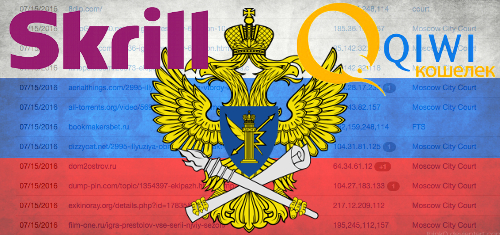 Russia blacklists payment processors Skrill and Qiwi over online gambling links