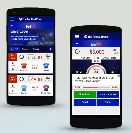 The Football Pools goes in-play with BetUp