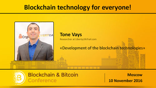 Special speaker from the USA. Analyst from Wall Street Tone Vays to speak at Blockchain & Bitcoin Conference