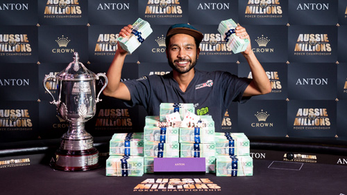 SHURANE 'SHAZ' VIJAYARAM CROWNED 2017 AUSSIE MILLIONS CHAMPION WINNING AUD$1.6 MILLION FOR HIS EFFORTS