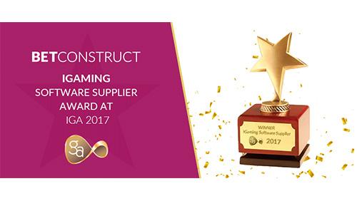 BetConstruct wins the iGaming Software Supplier award at IGA 2017