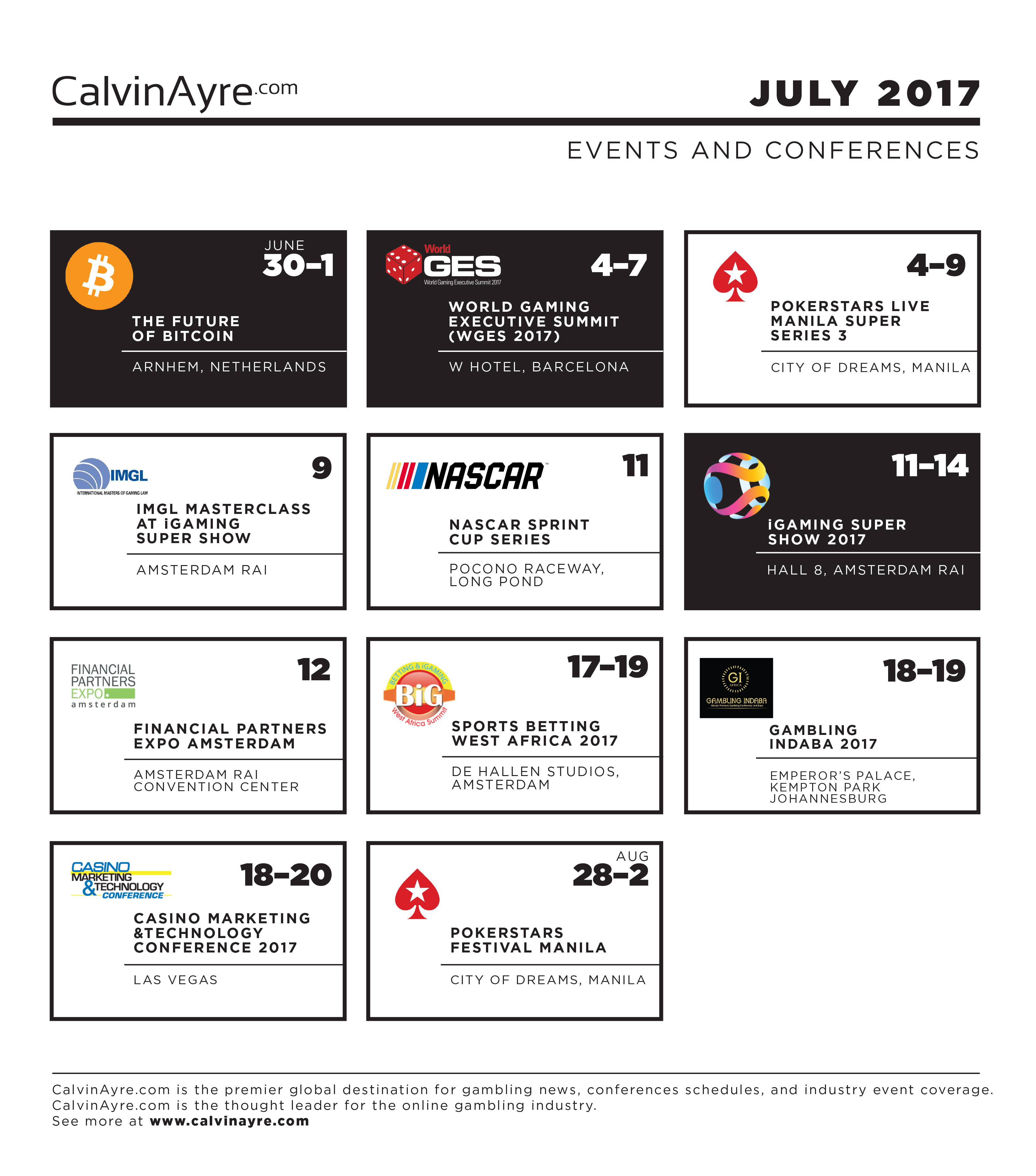 CalvinAyre.com featured conferences & events: July 2017