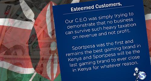 SportPesa walks back threat to close Kenya ops over betting tax