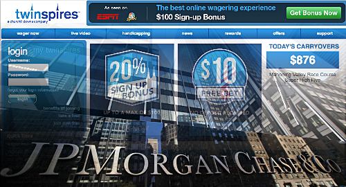 JPMorgan Chase to permit online pari-mutuel credit card wagering
