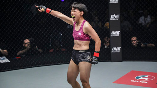 Xiong Jing Nan defends ONE Women's Strawweight World Championship against Laura Balin in Macau, China