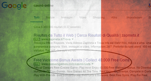 Google adjusts policy to conform to Italy's gambling ad ban