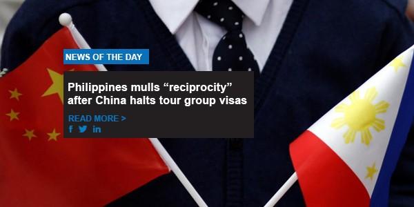 "Philippines mulls ""reciprocity"" after China halts tour group visas"