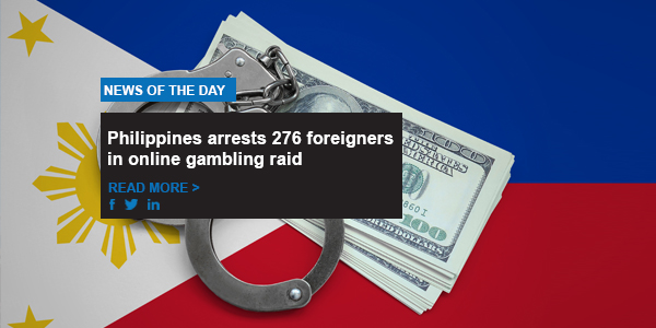 Philippines arrests 276 foreigners in online gambling raid