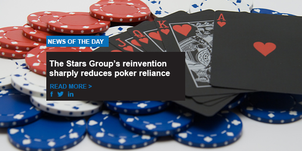 The Stars Group's reinvention sharply reduces poker reliance