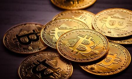 bitcoins on a table