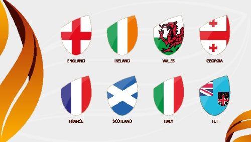 Rugby Autumn Nations Cup 2020, Flags of All Participants. Vector Flag Icon.