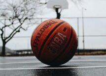 NBA branded basketball on a blacktop court