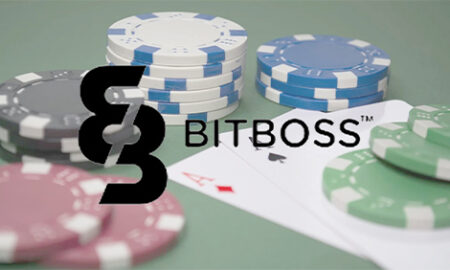 bitboss logo with poker background