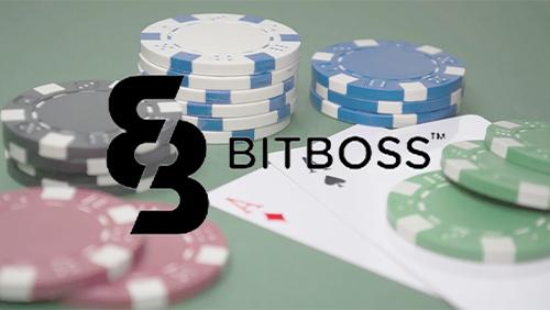 bitboss logo with poker background
